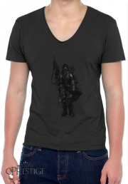 Mens T-Shirt V-Neck Post Apocalyptic Warrior