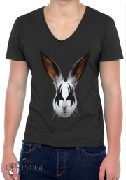 Mens T-Shirt V-Neck Kiss of a rabbit punk