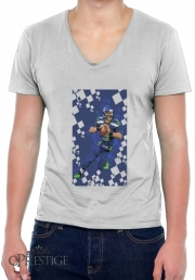 Mens T-Shirt V-Neck Seattle Seahawks: QB 3 - Russell Wilson
