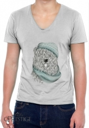 Mens T-Shirt V-Neck Shaggy Dog