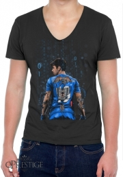 Mens T-Shirt V-Neck The Blue Beast