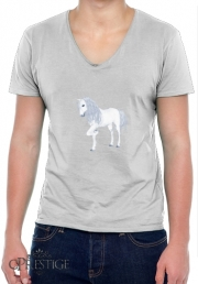 Mens T-Shirt V-Neck The White Unicorn