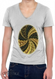 Mens T-Shirt V-Neck Twirl and Twist black and gold