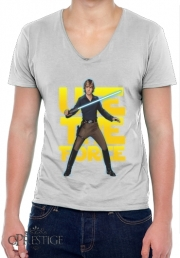 Mens T-Shirt V-Neck Use the force