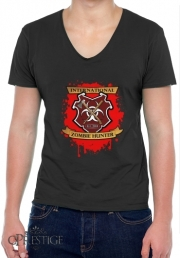 Mens T-Shirt V-Neck Zombie Hunter