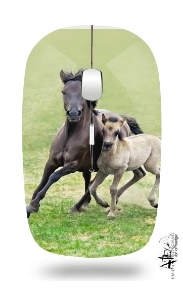 souris sans fil avec r cepteur usb chevaux poneys poulain white sacs accessoires. Black Bedroom Furniture Sets. Home Design Ideas