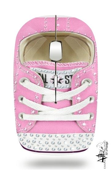 souris chaussure all star rose diamant sans fil avec r cepteur usb personnalis e. Black Bedroom Furniture Sets. Home Design Ideas