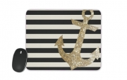 Mousepad gold glitter anchor in black