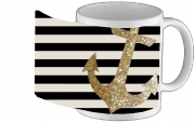 Tasse Mug gold glitter anchor in black