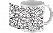 Tasse Mug toon skulls, black and white