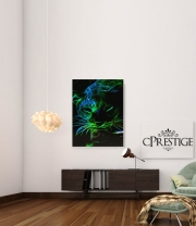 Poster Abstract neon Leopard