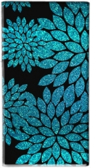 Batterie nomade de secours universelle 5000 mAh aqua glitter flowers on black