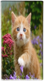 Mini Powerbank Micro USB Emergency External Battery 1720 mAh Cute ginger kitten in a flowery garden, lovely and enchanting cat