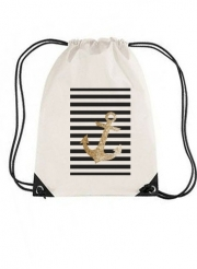 Sac de gym gold glitter anchor in black