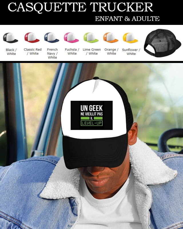 Casquette Snapback Originale Un Geek ne vieillit pas il level up