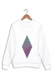 Sweatshirt Abstract bright floral geometric pattern teal pink white