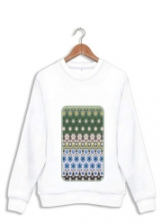 Sweatshirt Abstract ethnic floral stripe pattern white blue green