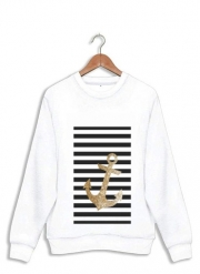 Sweatshirt gold glitter anchor in black