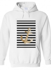 Sweat à capuche gold glitter anchor in black