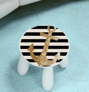 Tabouret enfant gold glitter anchor in black