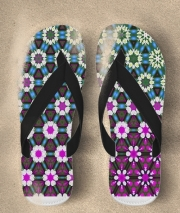 Tongs Abstract bright floral geometric pattern teal pink white