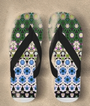 Tongs Abstract ethnic floral stripe pattern white blue green