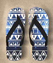 Tongs Aztec Tribal ton bleu