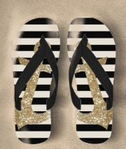 Tongs gold glitter anchor in black
