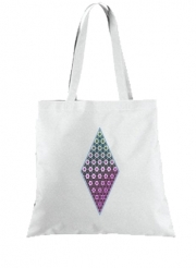 Tote Bag  Sac Abstract bright floral geometric pattern teal pink white