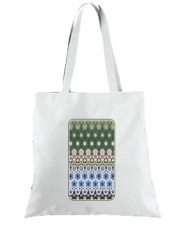 Tote Bag  Sac Abstract ethnic floral stripe pattern white blue green