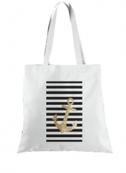 Tote Bag  Sac gold glitter anchor in black