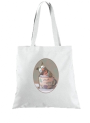 Tote Bag Painting Baby With Owl Cap in a Teacup