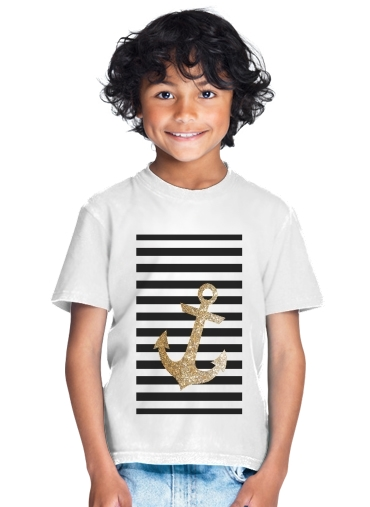 T-Shirt Garçon gold glitter anchor in black