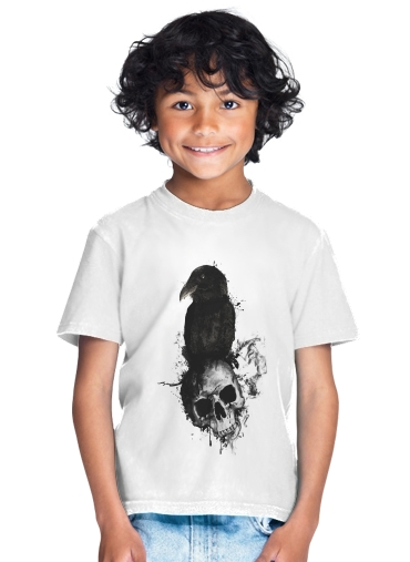 T-Shirt Garçon Raven and Skull