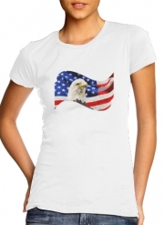 T-Shirt Manche courte cold rond femme American Eagle and Flag