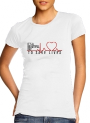 T-Shirt Manche courte cold rond femme Beautiful Day to save life