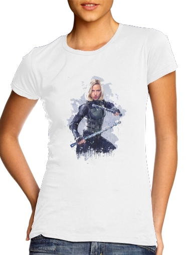 T-Shirts Black Widow Watercolor art