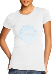 T-Shirt Manche courte cold rond femme Bohemian Flower Mandala in Blue
