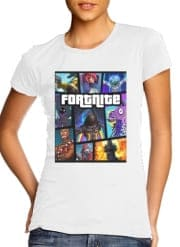 T-Shirt Manche courte cold rond femme Fortnite - Battle Royale Art Feat GTA