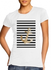 T-Shirt Manche courte cold rond femme gold glitter anchor in black