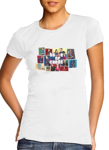 ee77427447f4c T-Shirt Manche courte cold rond femme Mashup GTA and House of Cards ...
