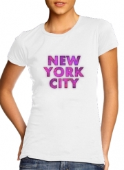 T-Shirt Manche courte cold rond femme New York City Broadway - Couleur rose