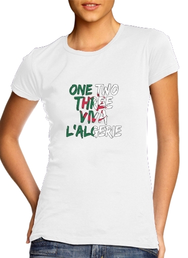 T-Shirt Manche courte cold rond femme One Two Three Viva lalgerie Slogan Hooligans