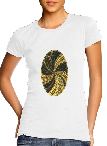 T-Shirt Manche courte cold rond femme Twirl and Twist black and gold