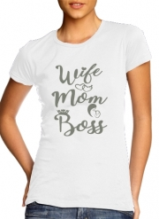 T-Shirt Manche courte cold rond femme Wife Mom Boss