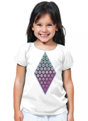 T-Shirt Fille Abstract bright floral geometric pattern teal pink white