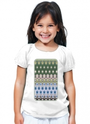 T-Shirt Fille Abstract ethnic floral stripe pattern white blue green