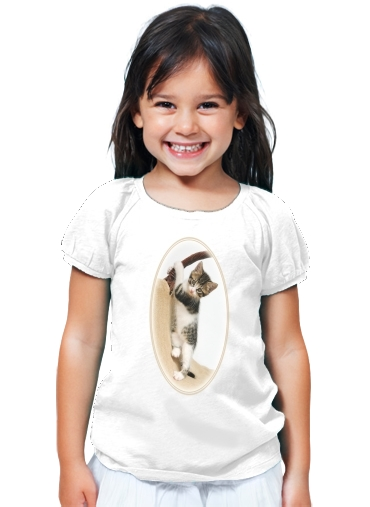 T-Shirt Fille Bébé chat, mignon chaton escalade