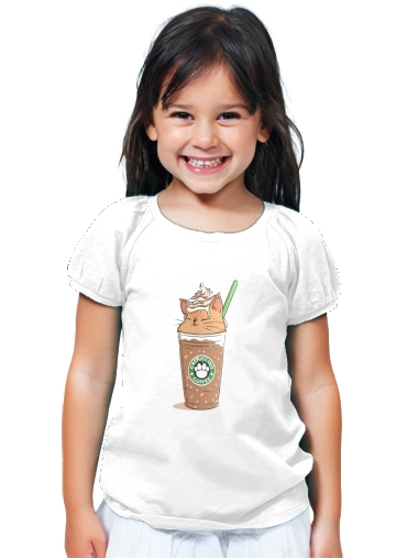 T-Shirt Fille Catpuccino Caramel