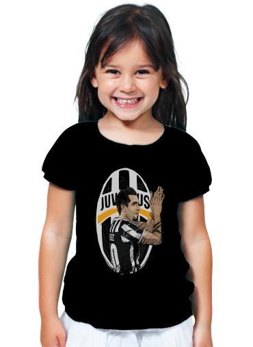 f65bcb6c5d9 T-Shirt Girl Football Stars  Carlos Tevez - Juventus black - Kids